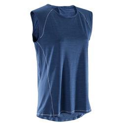 T-Shirt Yoga Damen atmungsaktiv blau meliert