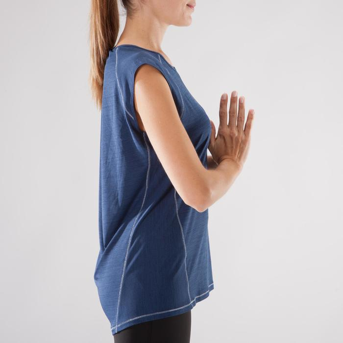 Camiseta sin mangas Yoga Domyos Mujer Azul jaspeado