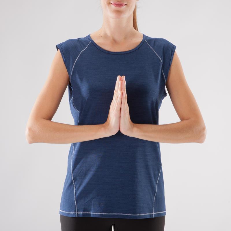 T Shirt yoga respirant femme bleu chiné
