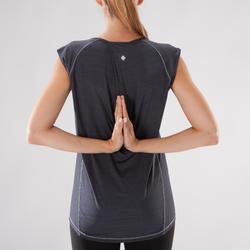 Camiseta sin mangas Yoga Domyos Mujer Negro jaspeado