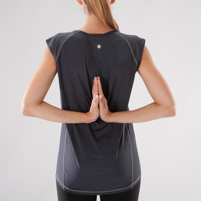 Camiseta sin mangas yoga mujer negro jaspeado