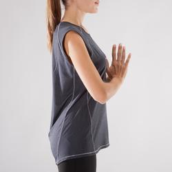 T-Shirt Yoga Damen schwarz meliert