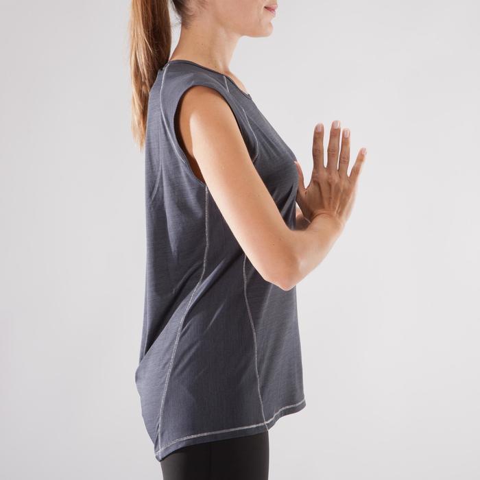 T-Shirt sans manches yoga femme noir chiné