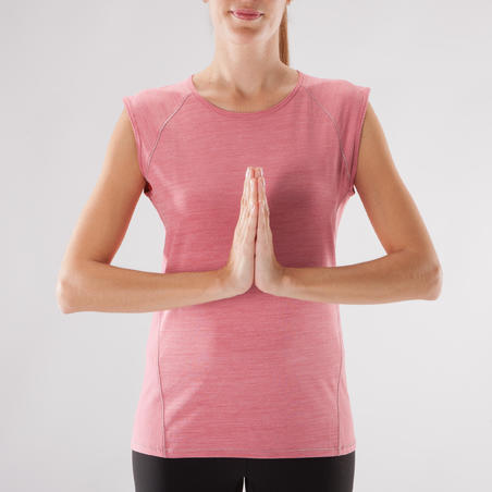 Women's Breathable Yoga T-Shirt - Heathered Pink