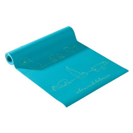 Tapis Yoga Enfant Imprime Ourson 5 Mm Bleu Domyos By Decathlon