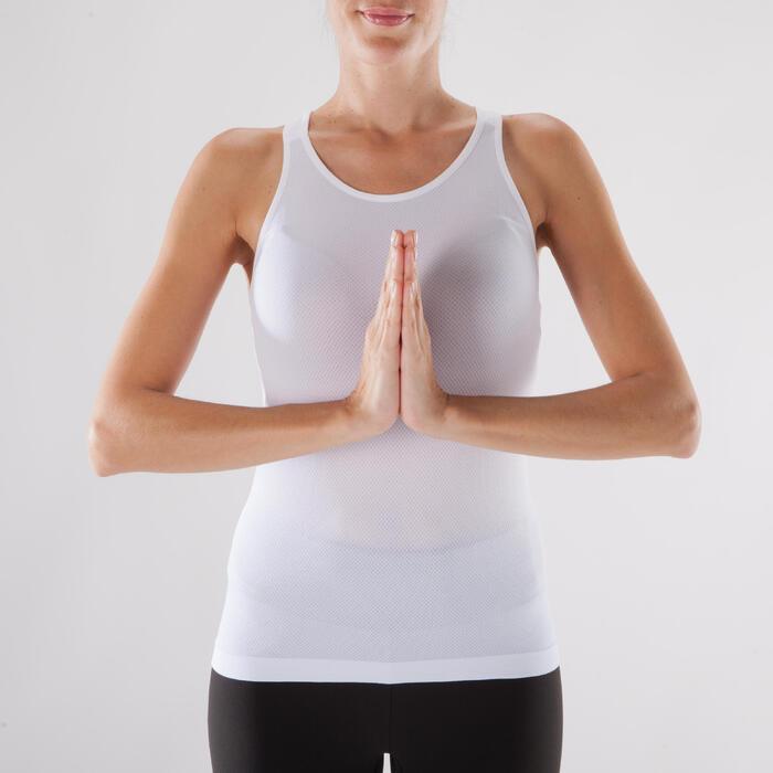 Camiseta Sin Mangas Yoga Domyos 500 Mujer Blanco Sin Costuras
