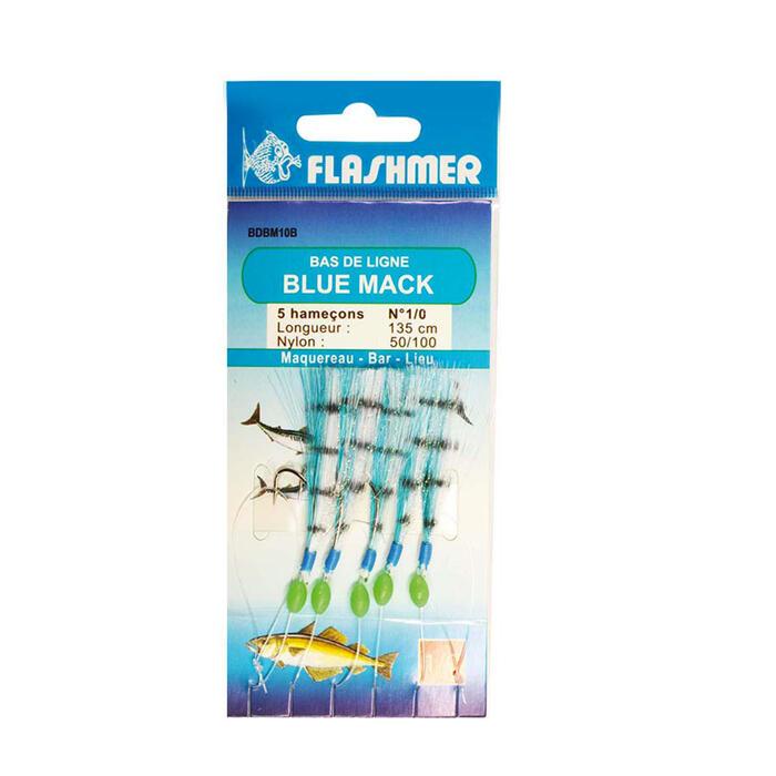 Bas de ligne Blue mac 5 hameçons 1/0 vert pêche en mer