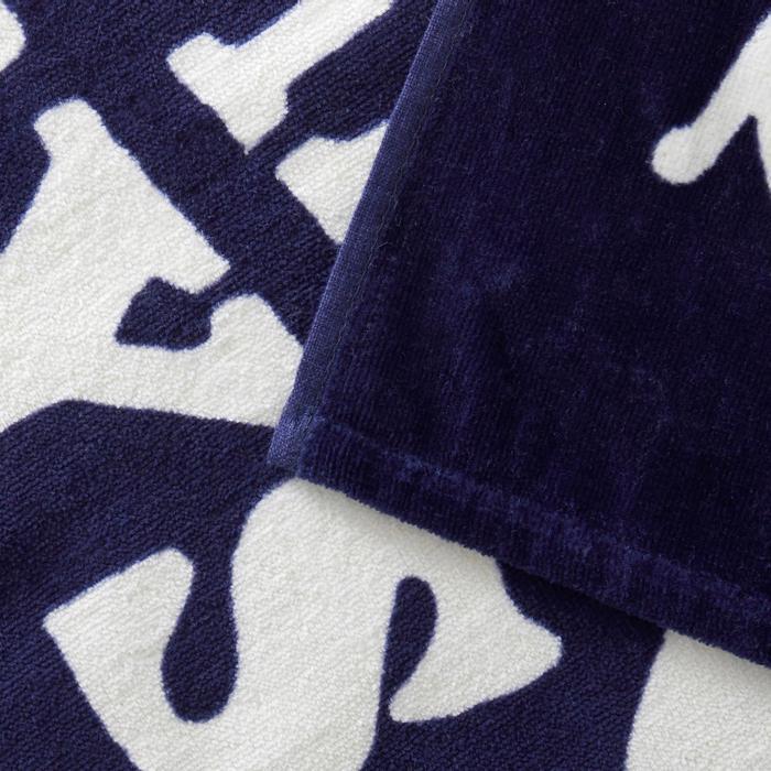 毛巾BASIC L號145 x 85 cm-衝浪印花/藍色