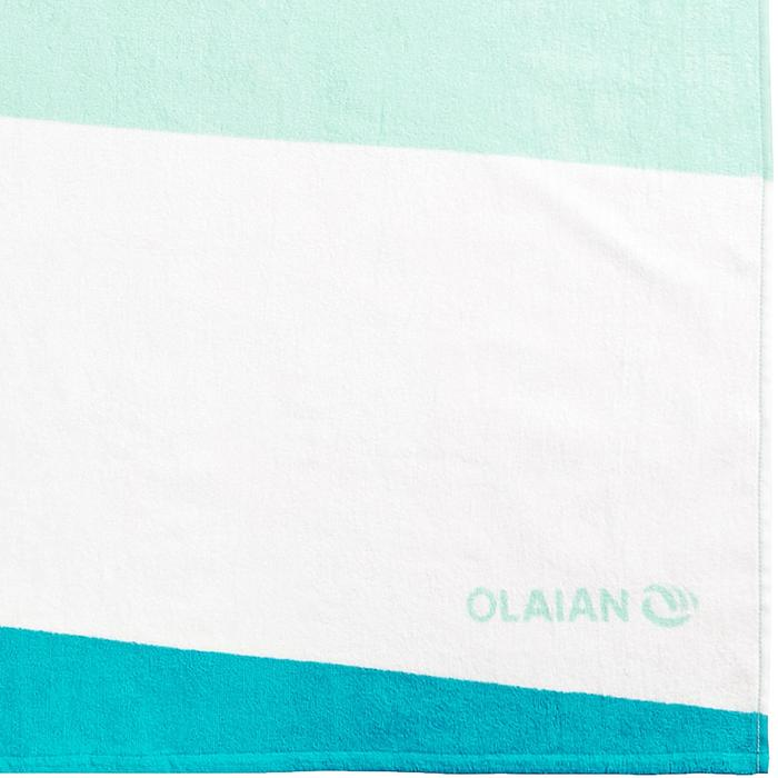 Handdoek Basic L print Wave groen 145 x 85 cm