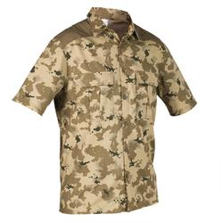 Overhemd 500 met korte mouwen voor de jacht Island camouflage beige