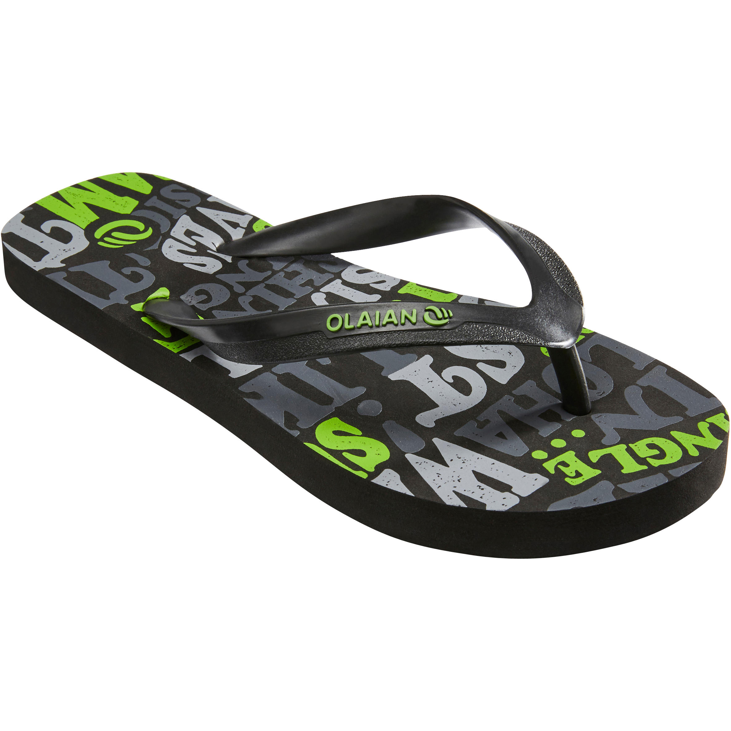 TO 120 Boys' Flip-Flops - Words Black