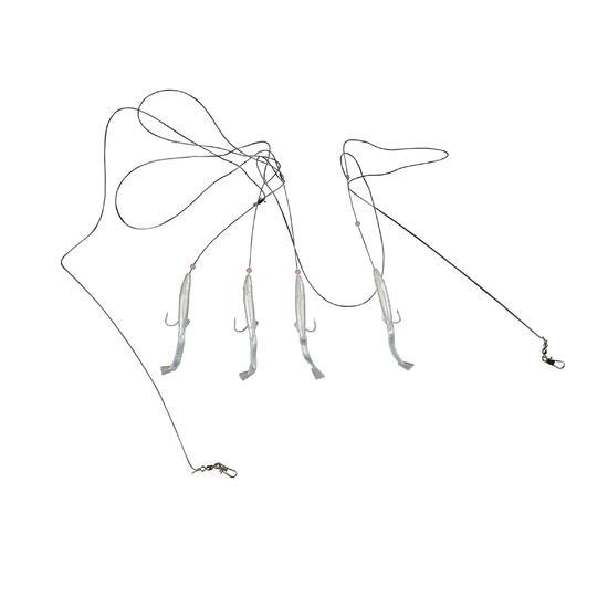 Lepels/veren zeehengelen Plug paarlemoer met 4 haken nr. 2 - 1289