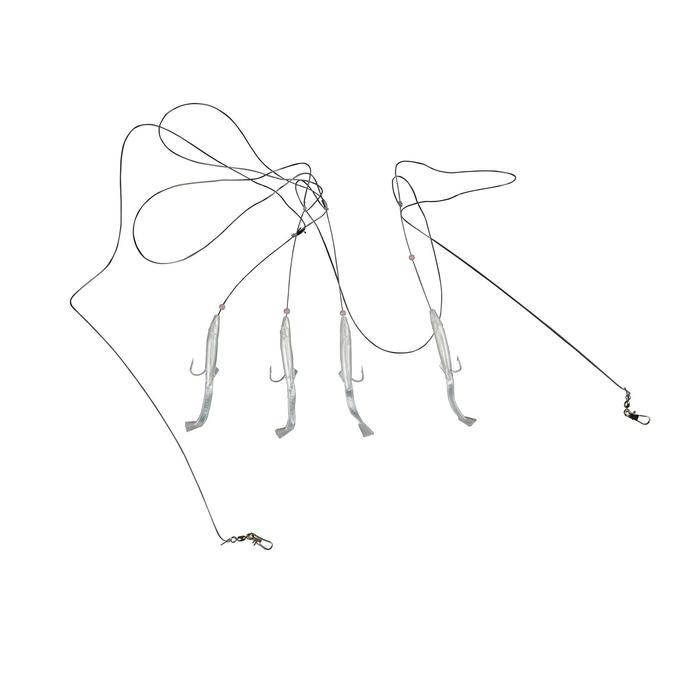 Lepels/veren zeehengelen Plug paarlemoer met 4 haken nr. 2