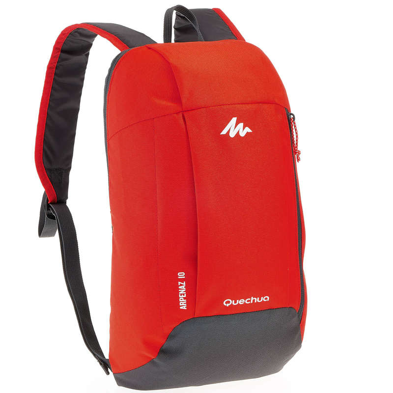 10L TO 30L NATURE HIKING BACKPACKS - NH100 10L Backpack - Red/Grey  QUECHUA