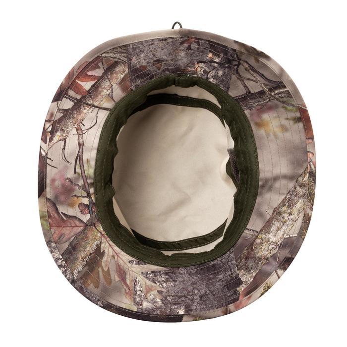 Sombrero Caza Solognac 500D Silencioso Ajustable Transpirable Camuflaje Marron