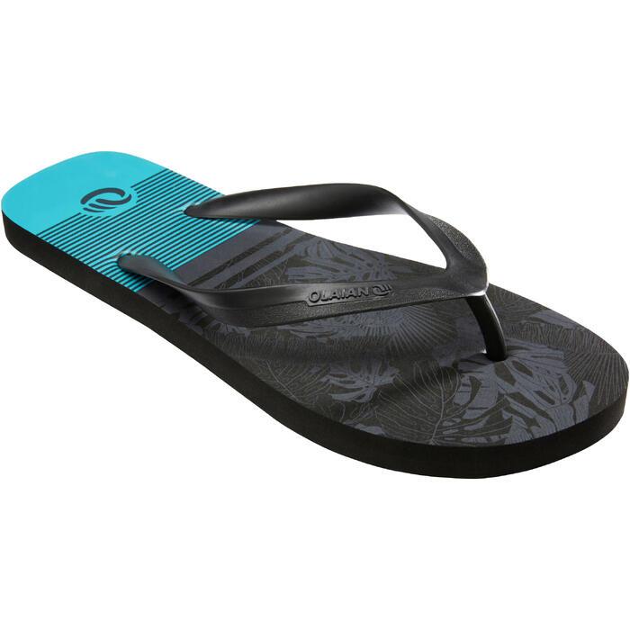 男款夾腳拖鞋120-藍色/花卉款