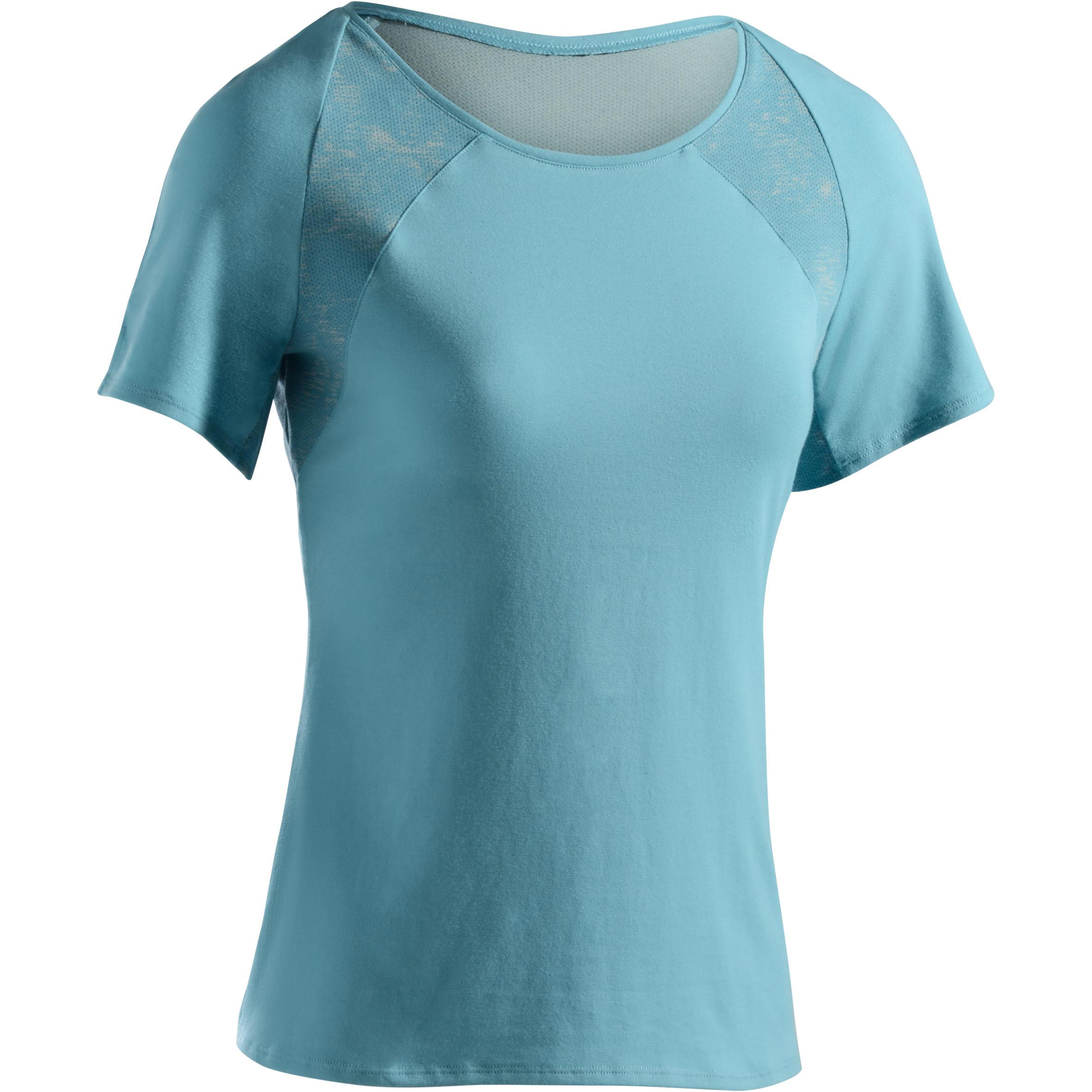 Domyos Dames-T-shirt 520 met korte mouwen voor gym en pilates ijsblauw