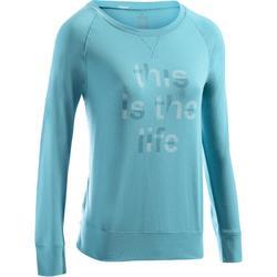 女款健身&皮拉提斯長袖T恤500-黑色印花