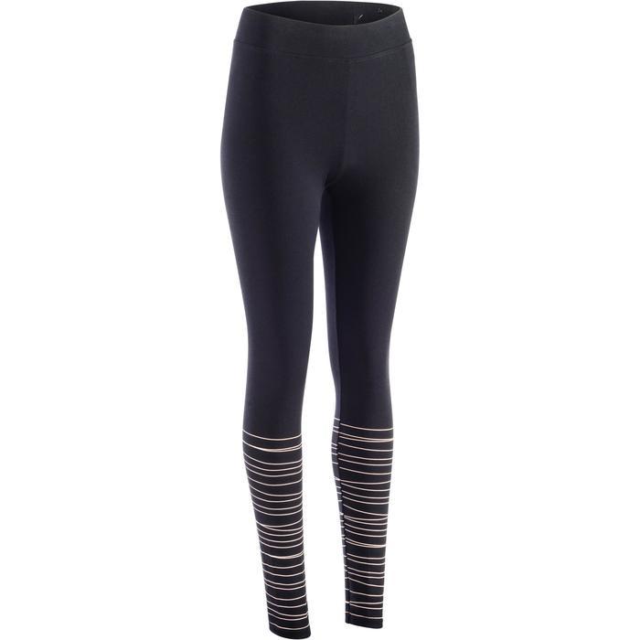 Leggings Fit+ 500 Slim Gym & Pilates Damen schwarz und rosafarbenen Linien