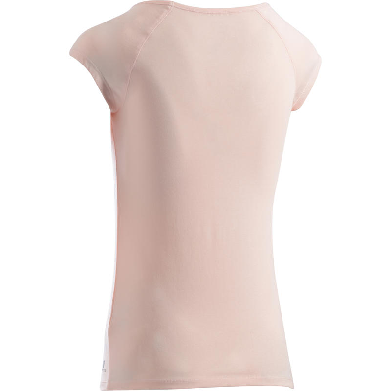 500 Women's Slim-Fit Pilates & Gentle Gym T-Shirt - Light Pink