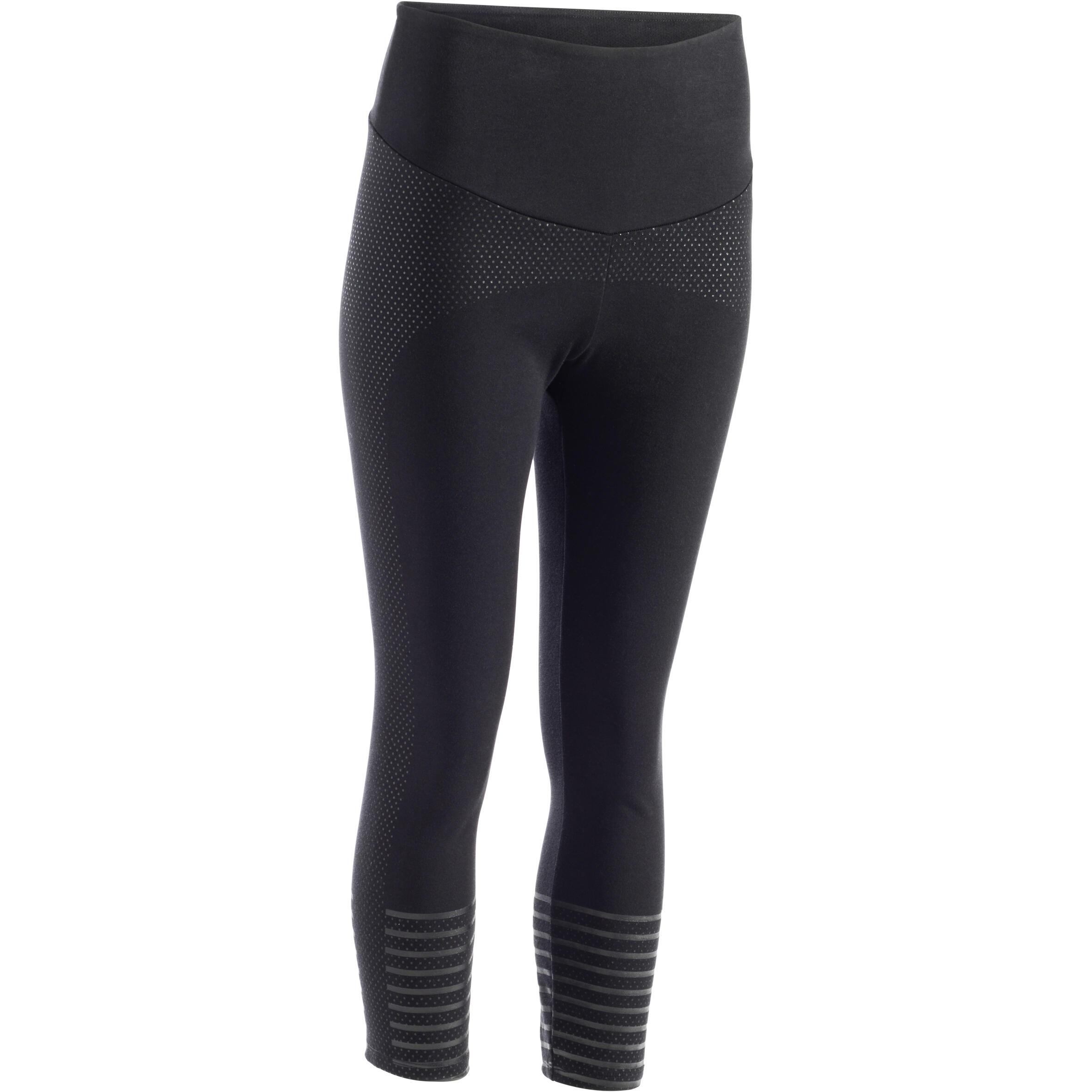 Domyos 7/8-legging 900 voor dames, voor gym en pilates, slim fit, zwart