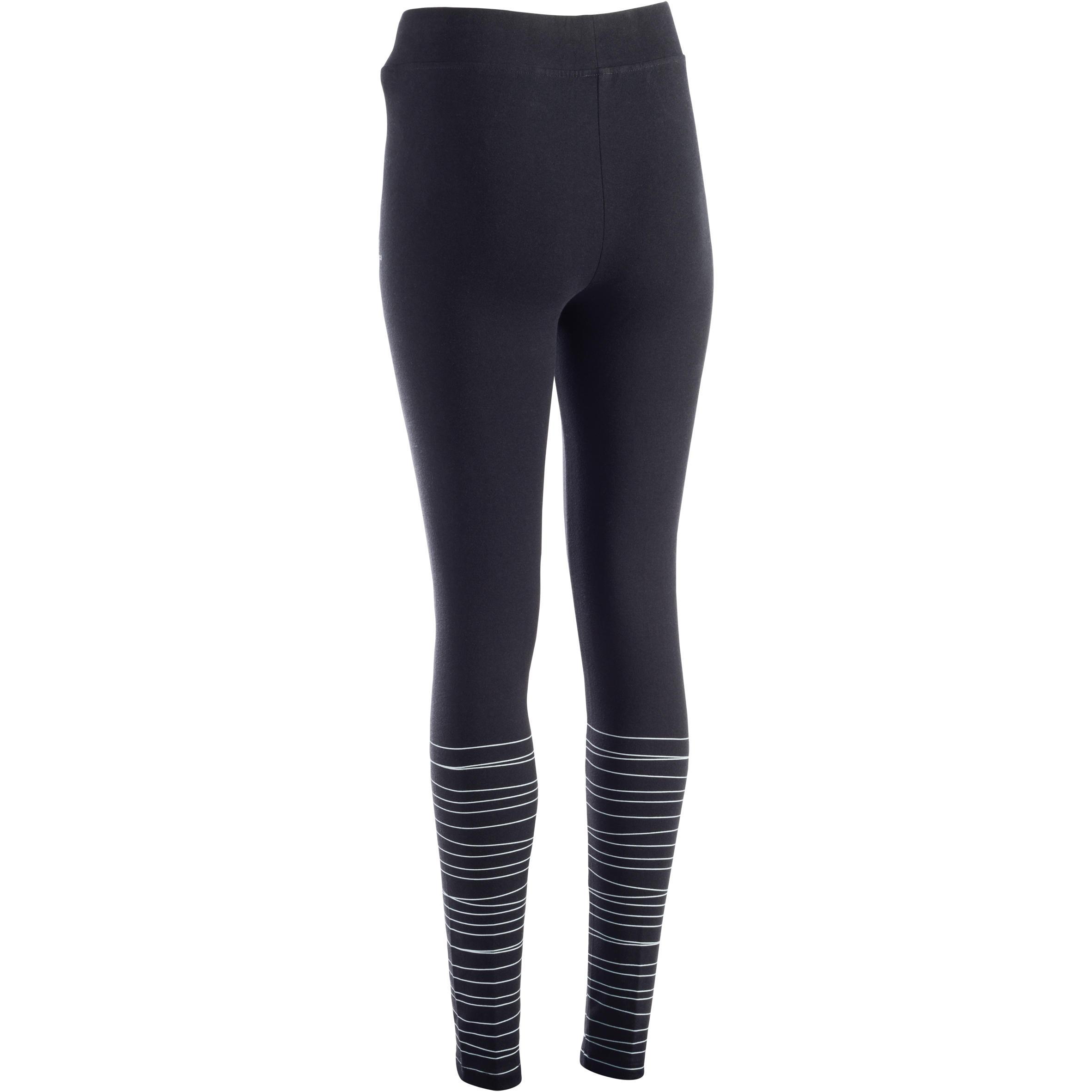 Fit+ 500 Women's Slim-Fit Gym & Pilates Leggings - Black Print with Blue Lines