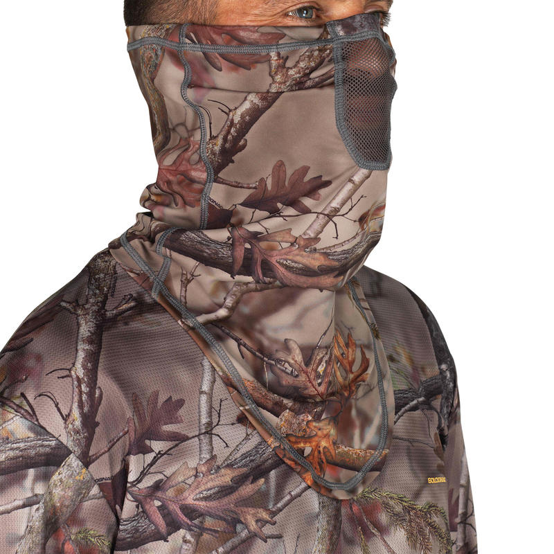 Hunting Breathable Neck Warmer 500 - Woodland Camouflage