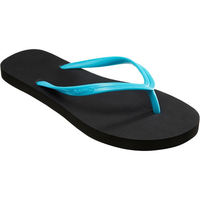 Slippers voor dames 100 zwart/turquoise