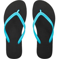 Chanclas Playa Surf Olaian Mujer Dedo Negro Azul