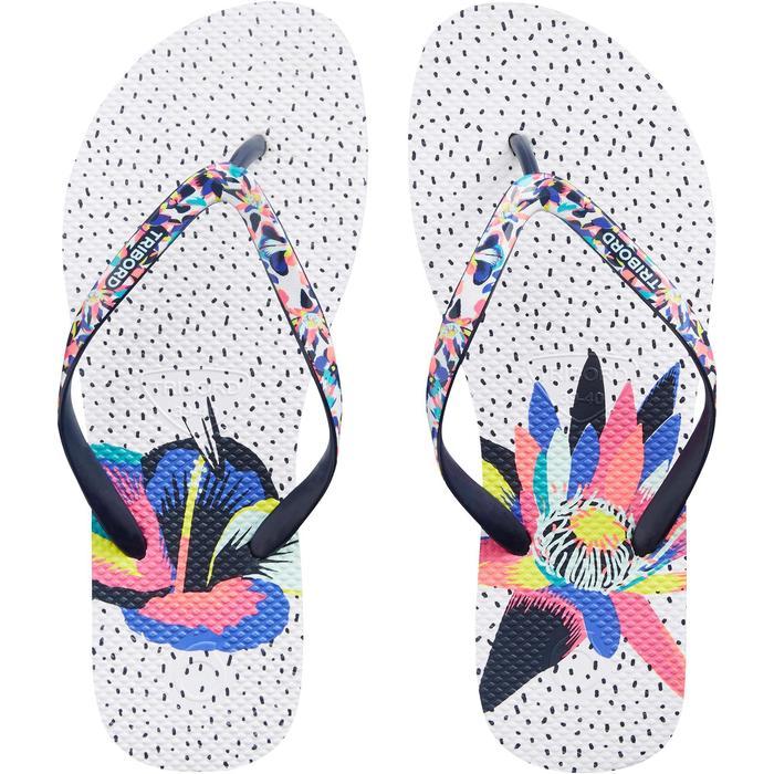 Chanclas Playa Surf Olaian Mujer Dedo Blanco Estampado
