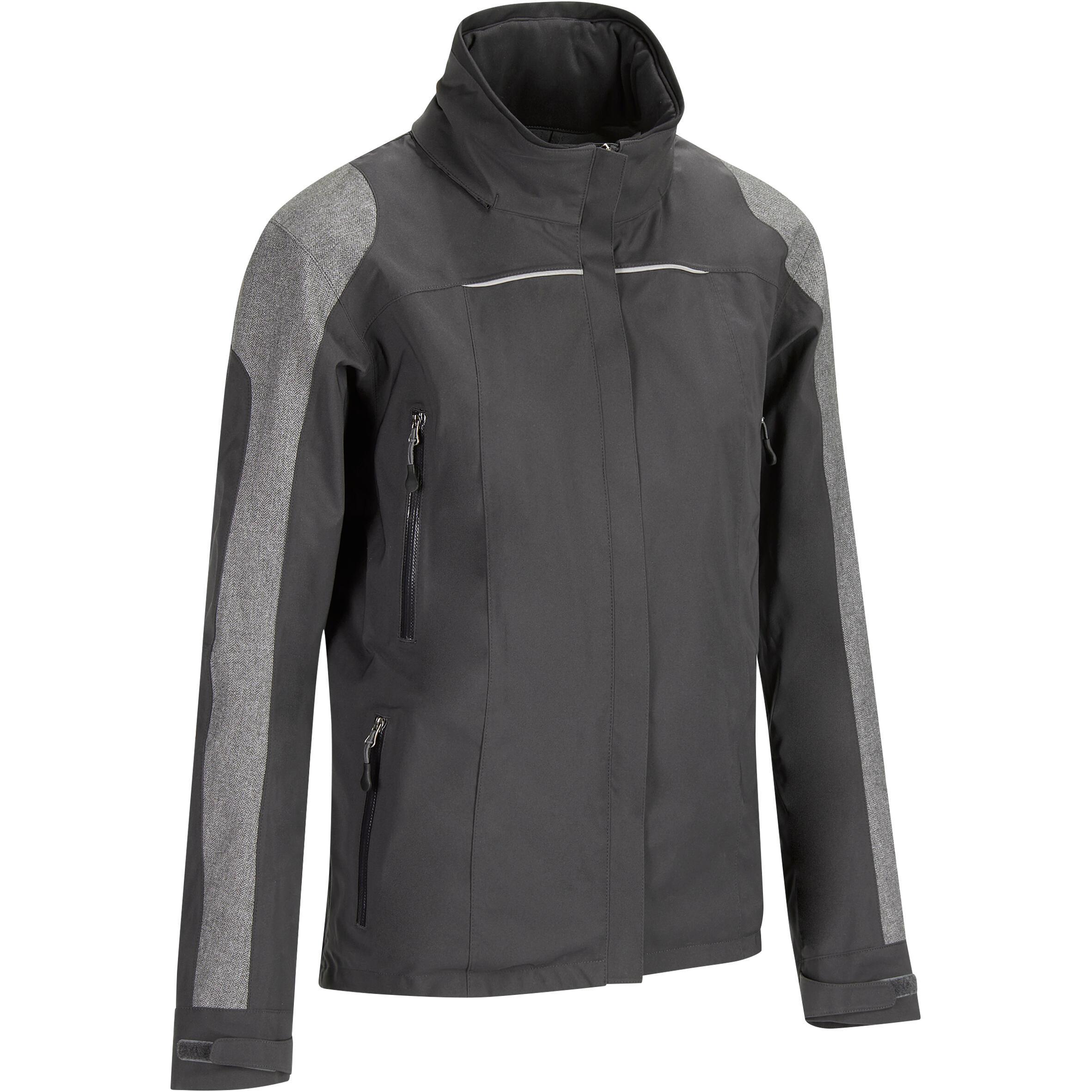 Fouganza Waterdichte damesjas ruitersport JKT500 zwart chevron