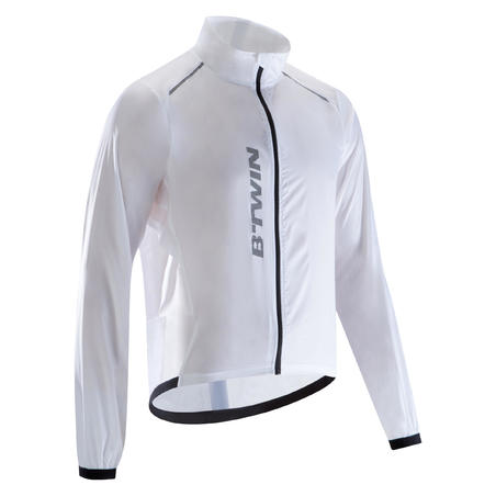 500 Ultralight Long-Sleeved Road Cycling Windproof Jacket - White