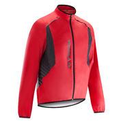 Rdeča dežna kolesarska jakna 500