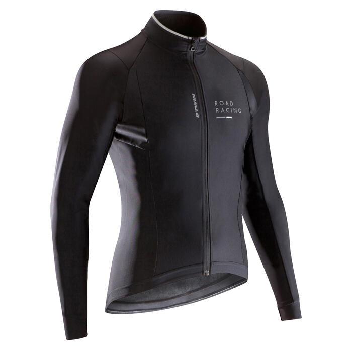 Langarm-Radtrikot 900 Herren warm wind- und wasserabweisend schwarz