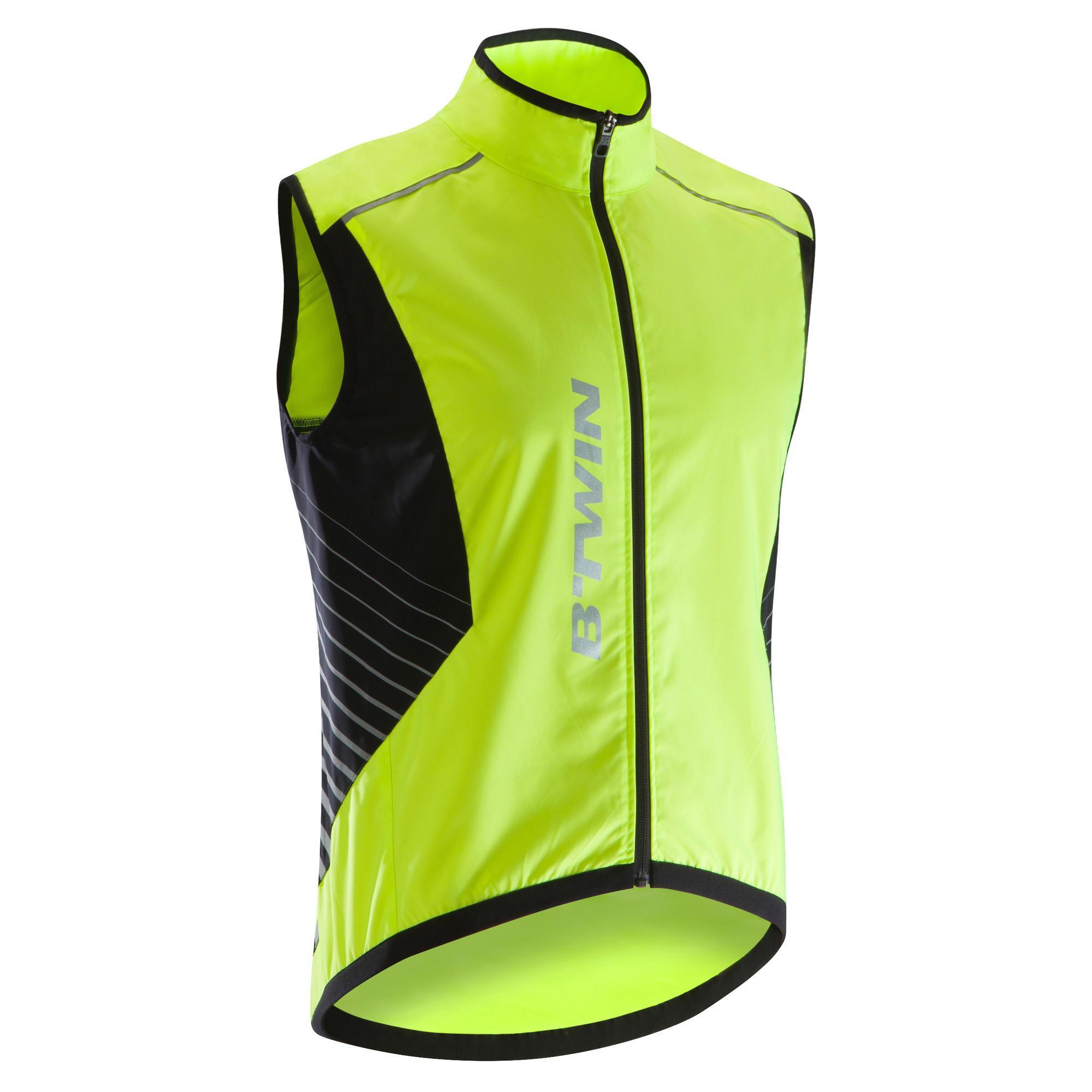 Fahrradweste 500 Herren neongelb | Sportbekleidung > Sportwesten > Fahrradwesten | Gelb - Grau | B´twin