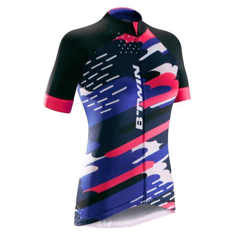 WOMEN WARM WEATHER ROAD APPAREL - RR 900 Women's Short Sleeve Cycling Jersey - Clouds BTWIN