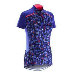 Fietsshirt 500 met korte mouwen voor dames Facet blauw