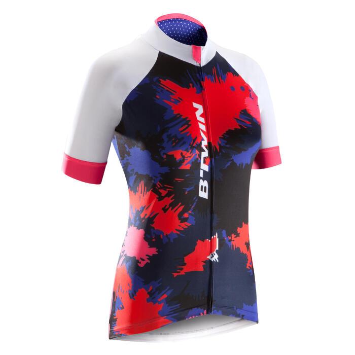 Fietsshirt 900 met korte mouwen voor dames dessin Splash
