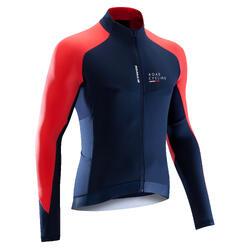 Fietsshirt 900 met lange mouwen voor heren marineblauw/rood