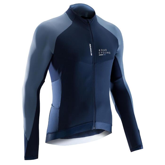 Fietsshirt met lange mouwen voor heren Roadcycling 900 marineblauw / jeans