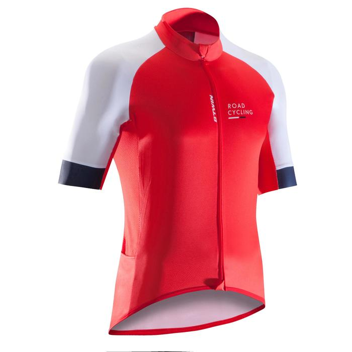 Kurzarm-Radtrikot Rennrad 900 Herren rot/weiß