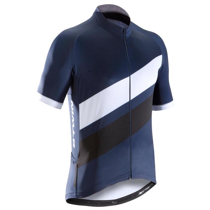 Kurzarm-Radtrikot Rennrad 500 Herren marineblau/weiß