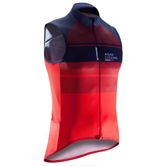 Fietsshirt voor heren zonder mouwen Roadc 900 rood/marineblauw