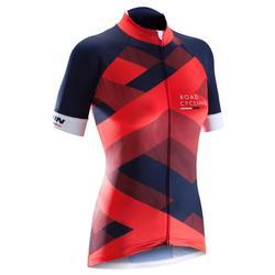 Fietsshirt 900 met korte mouwen voor dames Team blauw rood