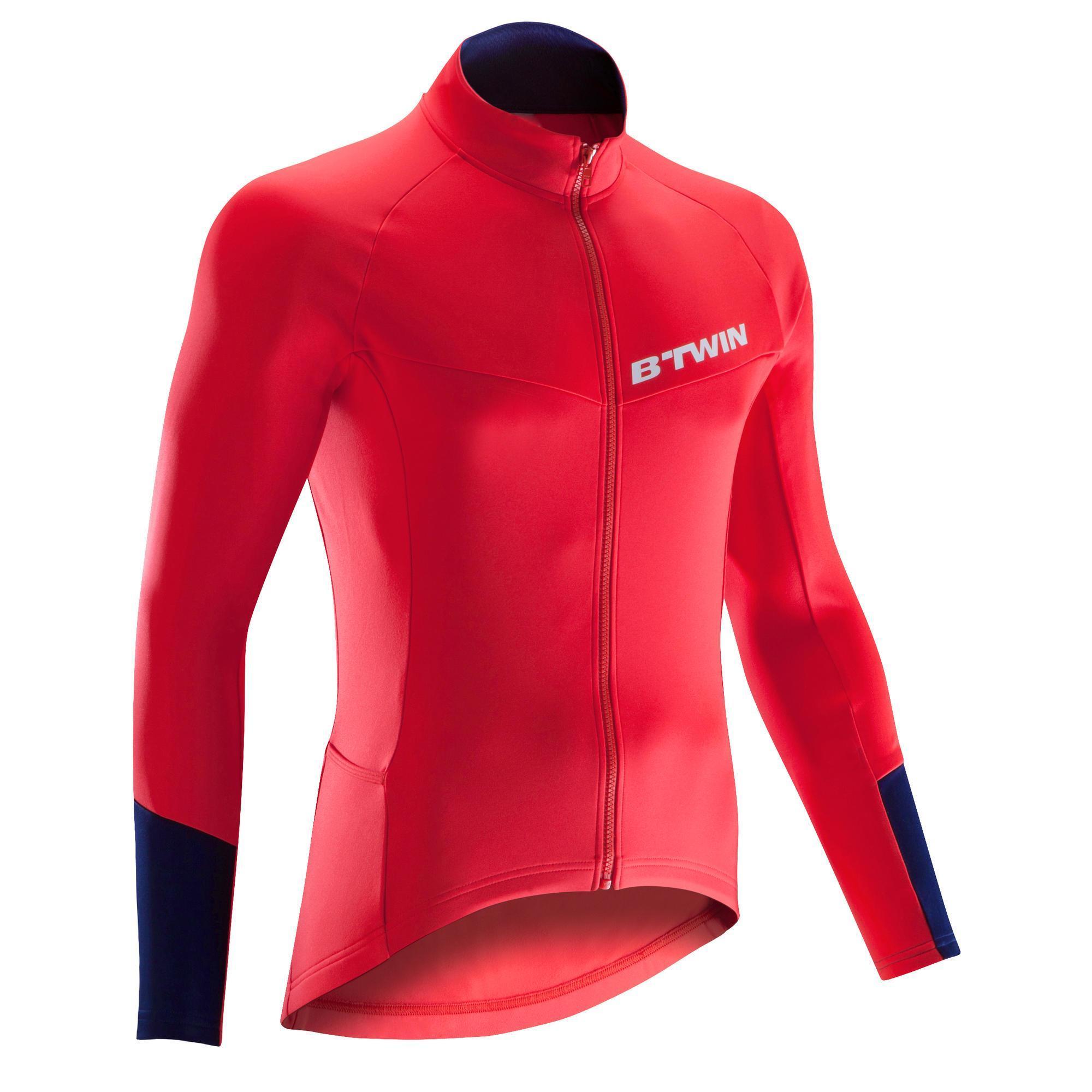 Triban Fietsshirt met lange mouwen voor heren wielrennen wielertoerisme 500 rood