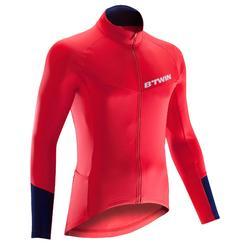 Fietsshirt met lange mouwen voor heren wielrennen wielertoerisme 500 rood