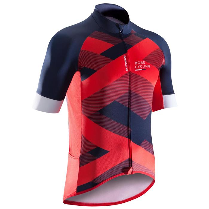 MAILLOT VELO ROUTE MANCHES COURTES HOMME ROADCYCLING 900  XRED NAVY - 1290585