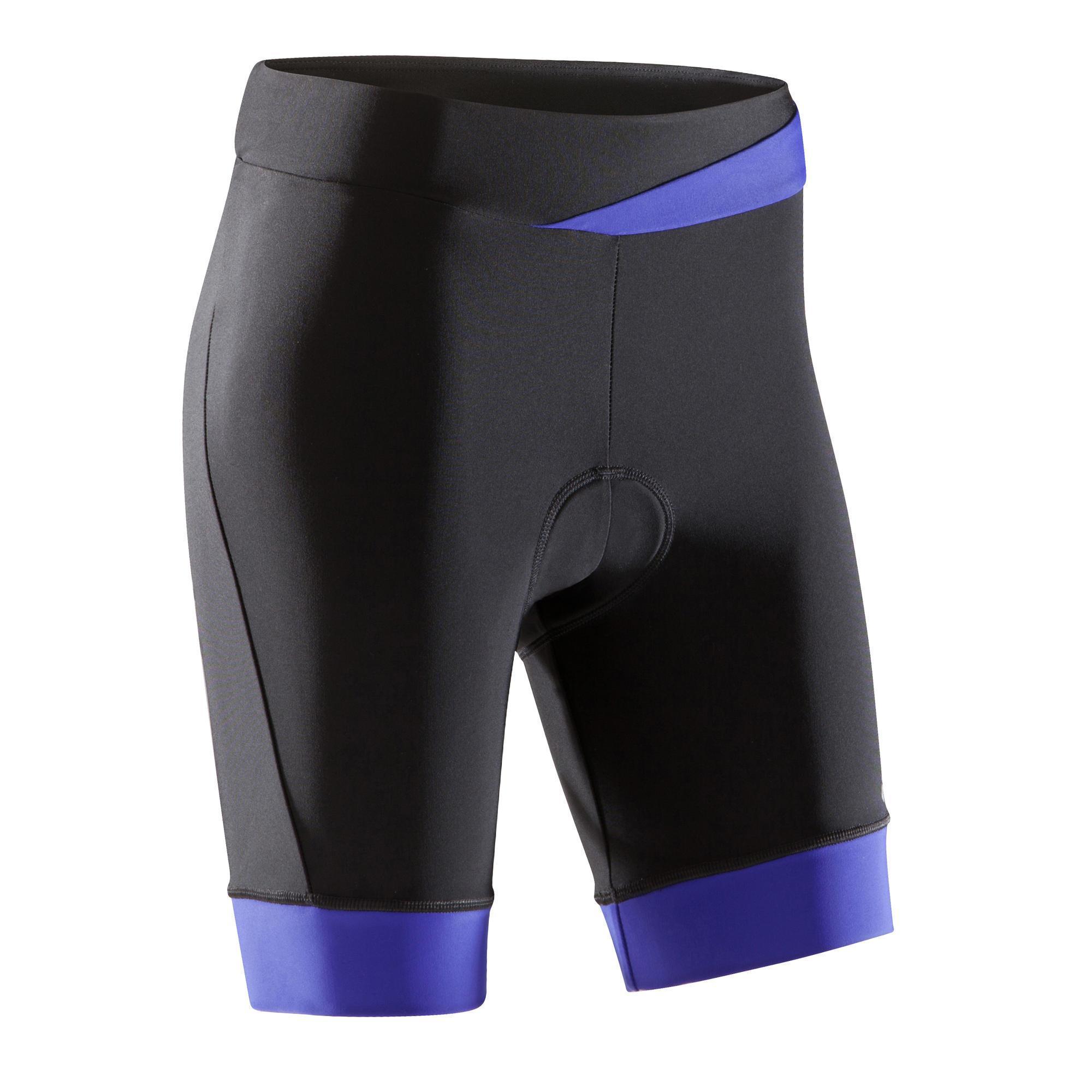 b 39 twin fietsbroek 500 zonder bretels voor dames zwart blauw. Black Bedroom Furniture Sets. Home Design Ideas