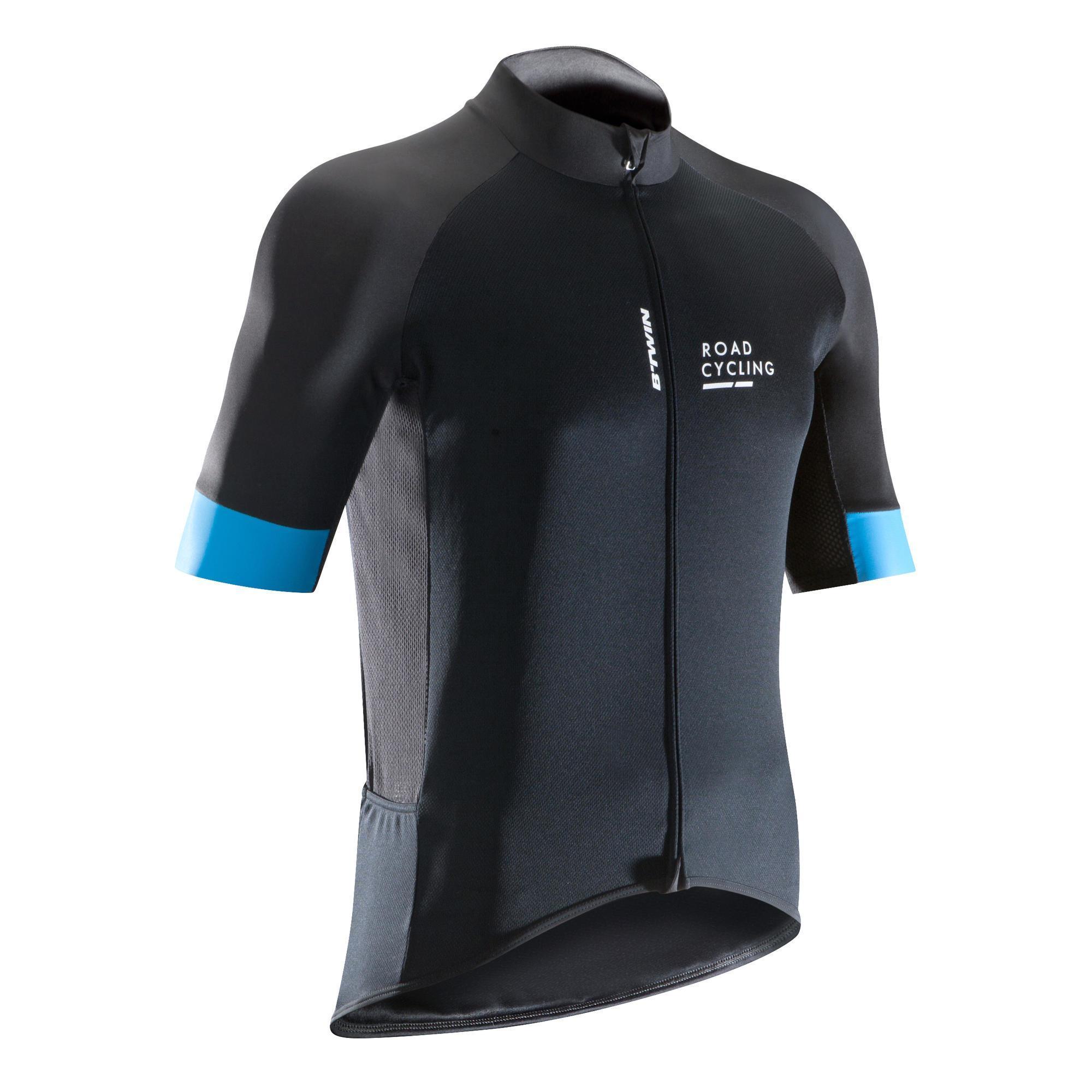 Triban Fietsshirt voor heren korte mouwen Roadcycling 900 zwart