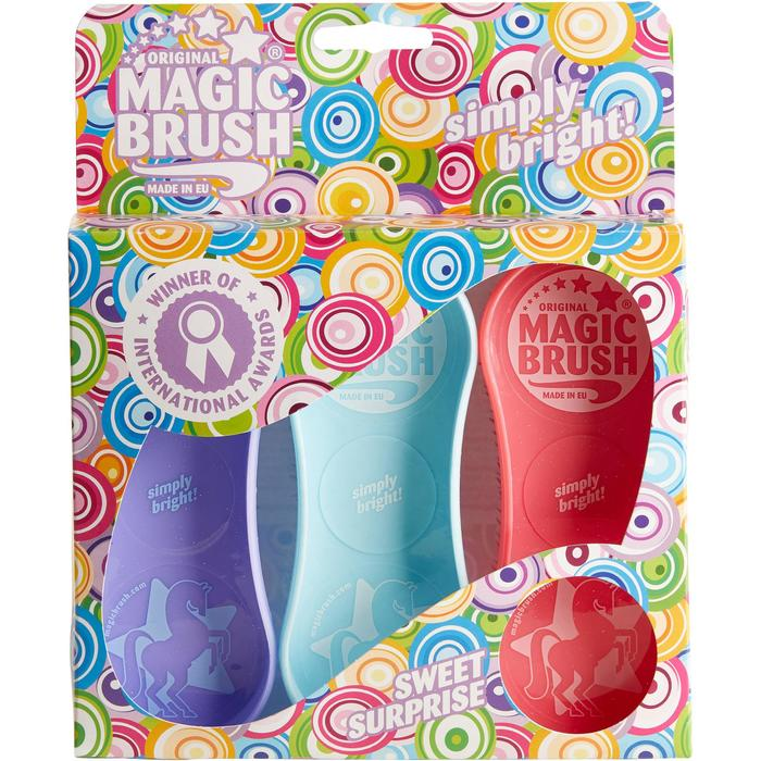 Cepillos equitación MAGIC BRUSH lote de 3 cepillos azul claro, malva, rosa